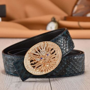 One-nice™ Woman Men Fashion Smooth Buckle Belt Leather Belt Blue