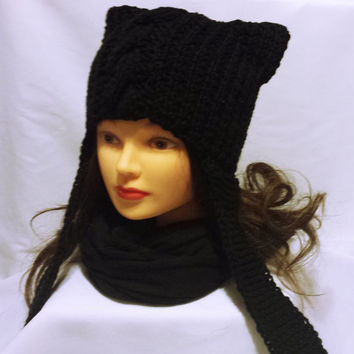 Cat ear beanie, black cat hat, Halloween hat, gothic cap, hat with flap ears, women cat hat, ear yarn hat, cat handmade hat, costume hat
