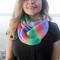 Handknit Rainbow Infinity Scarf, Hand Knit Accessory Colorful Infinity Scarf Loop Circle Women's Infinity Scarf, Multi Color Scarf