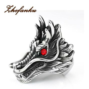 2017 new hot sale Dragon Head Rings For Men Punk Rock Style Red Stone Rings Party Jewelry personalized exaggerated rings