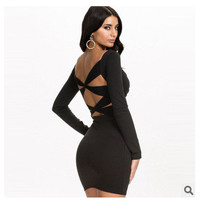 Women's Fashion Sexy Long Sleeve Backless Plus Size Ladies One Piece Dress [4966215364]