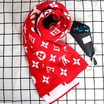 LV Supreme Fashion Women Wool Print Scarf  G-A36H-MY