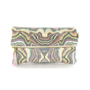 Leather Clutch Bag / Handbag - Multicolour Mela