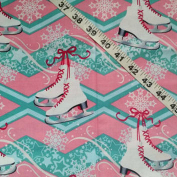 Ice skating fabric with skates skater Winter season cotton print quilt sewing material to sew by the yard craft project quilters sewer