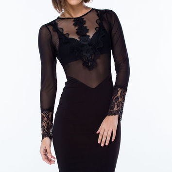 Mesh Lace Long Sleeve Backless Mini Bodycon Dress