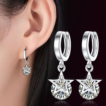 Five Pointed Star Silver Drop Earrings Cubic Zirconia Jewelry Women Brand Silver Tassel Ear Buckle Fashion