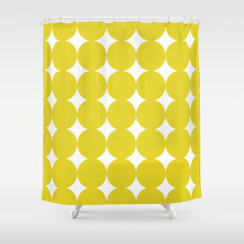 Mustard dots pattern Shower Curtain by kongkongdigital