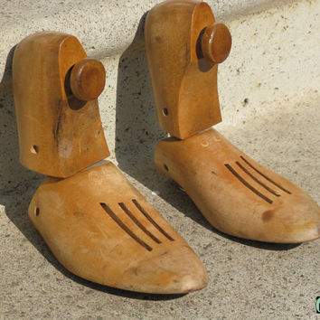 Vintage 1940s 1950s Wood Shoe Tree Form Stretchers Upcycling Repurposing