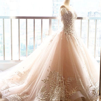 Stunning Ball Gowns Bridal Dress 2016 Short Sleeve Sheer Neck Chapel Train Lace Blush Pink Wedding Dresses Real Photo