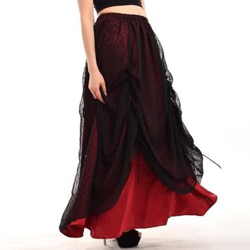 Gothic Skirt Women Victorian Steampunk Vintage Bustle Ruffles Black Flocked Organza Maxi Long Skirt
