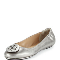 Minnie Travel Logo Ballerina Flat, Gunmetal