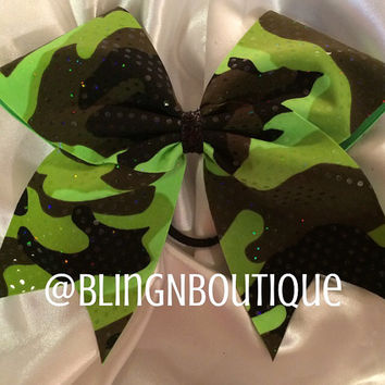 Camo Me Neon Green Cheer Bow