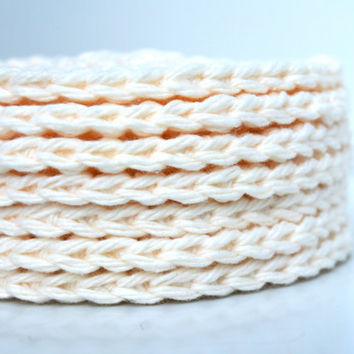 Cotton Crocheted Face Scrubbies, Washcloths, Ivory, Set of 7