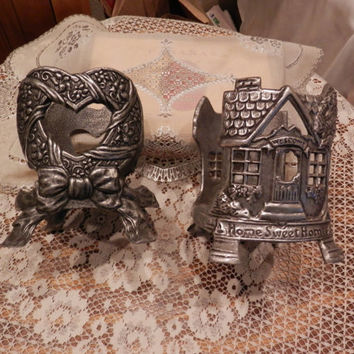Pair Of Carson Vintage Pewter Metal Standing Candle Jar Sleeves Holders Home Sweet Home Open Heart With Bow Home Decor Mantle