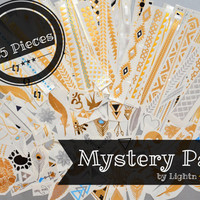 MYSTERY PACK! - 65 Tattoo Pieces - Metallic Silver, Gold, and Black Temporary Tattoo - Flash Tattoo - Easy Application Jewelry Body Ink Art