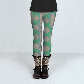 Green Art Leggings - FREE shipping to USA polyester spandex footless tights abstract geometric cute legging tight fit gray grey shapes fun