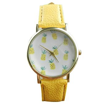 Women and Girls Cute Pineapple Quartz Watch with PU Leather Band.     Available in Yellow, Green, Black and White.   ***FREE SHIPPING***