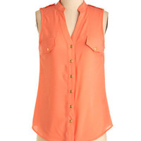 Cantaloupe for the Best Top | Mod Retro Vintage Short Sleeve Shirts | ModCloth.com