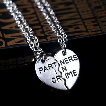 Partners In Crime Silver Heart Necklace Keychain Keyring