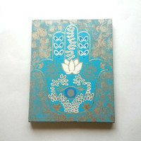 Hamsa hand -Gold and Teal- fashionable acrylic canvas painting for trendy girls room or home decor