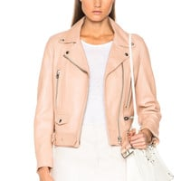 Pink Vegan Leather Biker Jacket