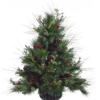 3' Potted Pine Artificial Christmas Tree with Pine Cones and Berries - Unlit