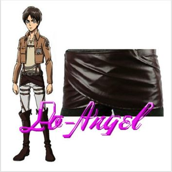 Cool Attack on Titan Anime No   Deluxe Edition Cosplay Costumes Unisex Chocolate PU Leather Apron Belt Skirt AT_90_11