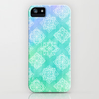 Soft Doodle Pattern in White, Purple, Mint & Aqua iPhone & iPod Case by Micklyn