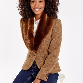 Wilomena Camel Herringbone Tweed Jacket | Joules US