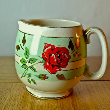 Mint Green Milk Jug Creamer with Red Rose by Sadler China Staffordshire England