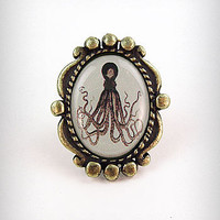Antiqued Octopus Framed Ring | PLASTICLAND