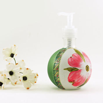 Dogwod flower soap dispenser - Hand painted glass dispenser for lotion, soap, detergent or perfume