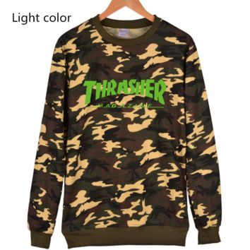 Thrasher Flame jacket with long sleeves loose set of Pullovers sweater Green
