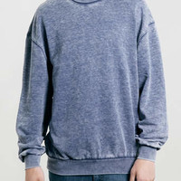 Blue Burnout Oversize Sweatshirt