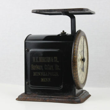 Antique 1910s Columbia Family Scale, 24 Pound Kitchen Scale. W.K. Morison Co. Minneapolis MINN. Advertising Scale