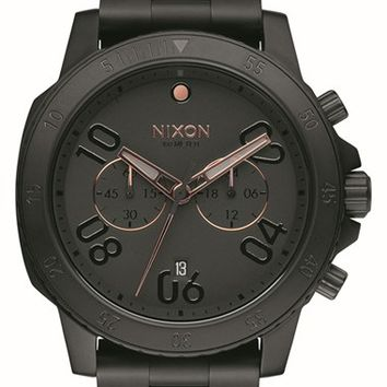 Men's Nixon 'Ranger' Chronograph Bracelet Watch, 44mm - Black/ Rose Gold