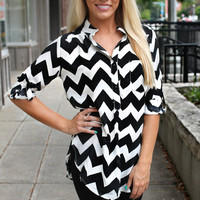 Don't Kill My Vibe Chevron Blouse