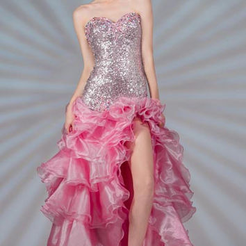 PRIMA C139002 Sequin and Ruffle Prom Dress