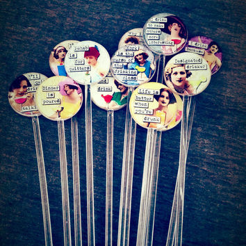 Funny Sarcastic Ladies Alcohol Humor Drink Stirrers Swizzle Sticks Party Decor, Bachelorette, Bridal, Girls Night Out, Hostess Gift