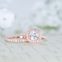 Halo Wedding Ring Set - Cushion Cut Ring - Engagement Ring - Rose Gold Ring - Sterling Silver Ring - 1 Carat