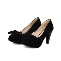 AmoonyFashion Girls Closed Round Toe High Heel Chunky Heels Platform PU Frosted Solid Pumps with Bowknot, Black, 4 B(M) US