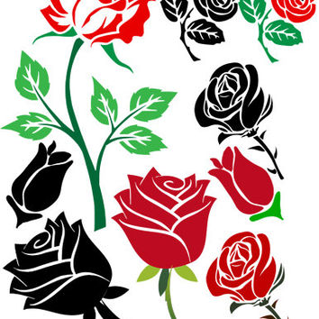 flower rose elements digi stamp clipart png clip art digital image download graphics printable art digital print red black roses silhouette