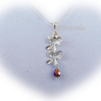 Orchid Flower Bridal Necklace