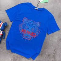 Kenzo Summer Fashion New Bust Embroidery Letter Tiger Top T-shirt Blue