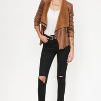 Silence + Noise Riley Drapey Vegan Suede Jacket | Urban Outfitters