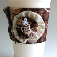 Latte Coffee Cup Cozy / Mocha Coffee Lovers Drink Sleeve