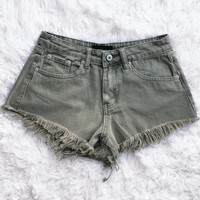 June Distressed Denim Shorts (SAGE) - SMALL & MEDIUM