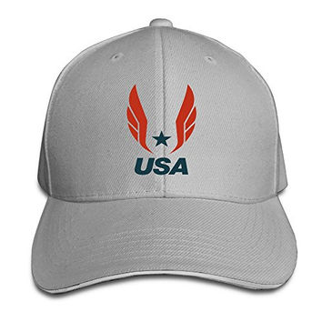HAOHAO USA TRACK FIELD Logo Adjustable Snapback Hats Baseball Peaked Caps