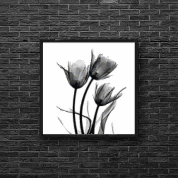 Whimsical Modern Tulip Flower in Black and White Cross Stitch Pattern
