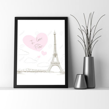 Paris PARIS Printable art, Paris Print Home decor, Black and White, Instant Download